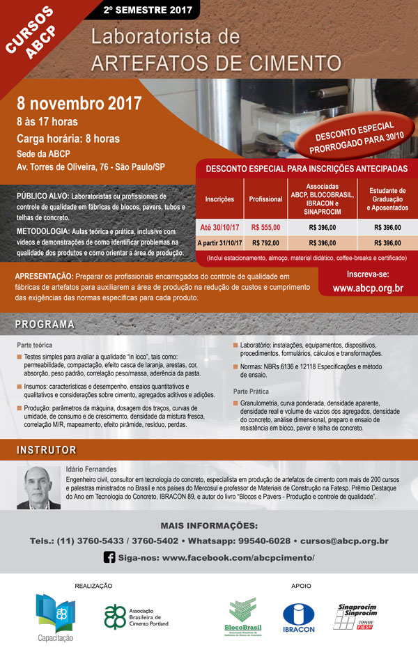 08 Novembro São Paulo- SP   Laboratorista de Artefatos de Cimento