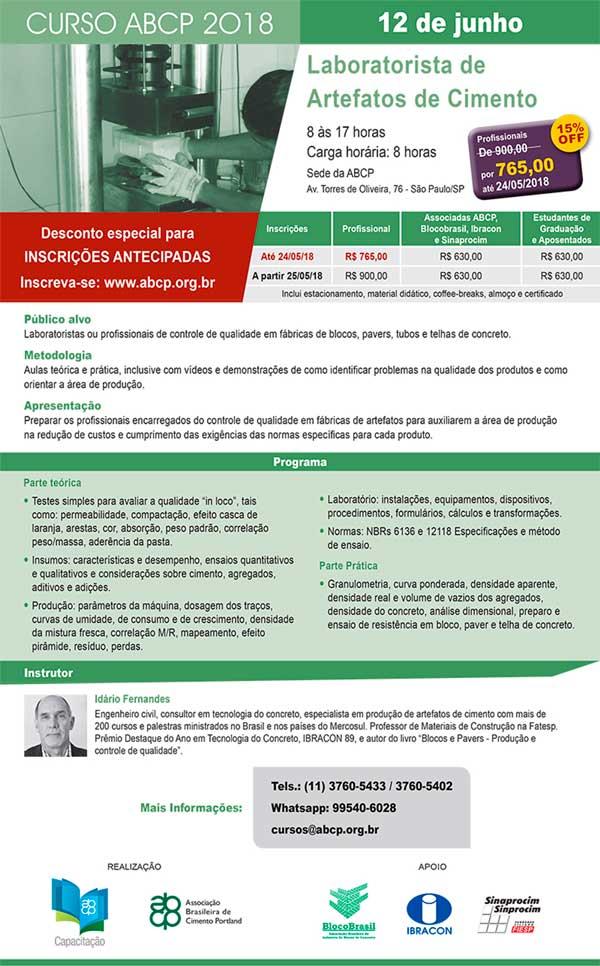 12 Junho São Paulo- SP | Laboratorista de Artefatos de Cimento